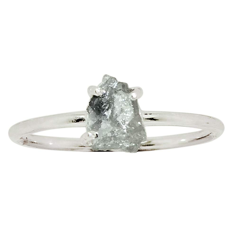 Xtremegems Natural Diamond Rough 925 Sterling Silver Ring Jewelry Size 8 30193R