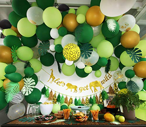 2019 Premium Jungle Safari Theme Party Decorations Set 193 Pcs : 142 Pcs Latex Ballloons, 30 Pcs Paper Leaves,