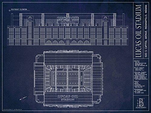 Indianapolis Colts Lucas Oil Stadium (Lucas Oil Stadium - Indianapolis Colts - Blueprint Style Print (Unframed, 18