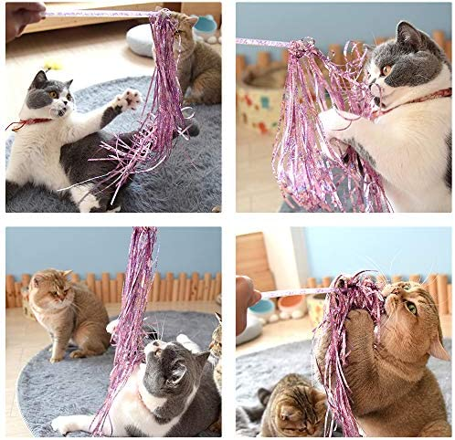 Cat Teaser Wands 3 PCS Cat Wands Interactive Cat Toys Cat Stick with Balls, Feather and Tassel for Cat Kitten Having Fun Exerciser Playing 8