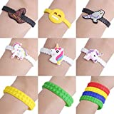 Prize Bracelets as Party Favor toys for kids, 100pcs Assorted Birthday Supplies Toy Novelty Goodies, Wizard, Emoji, Lego Theme, Unicorn Bracelets Reviews