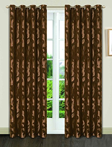Dainty Home Pali Toile Print Room Darkening Grommet Window Curtain Set of 4 (Brown Toile Window Panels)