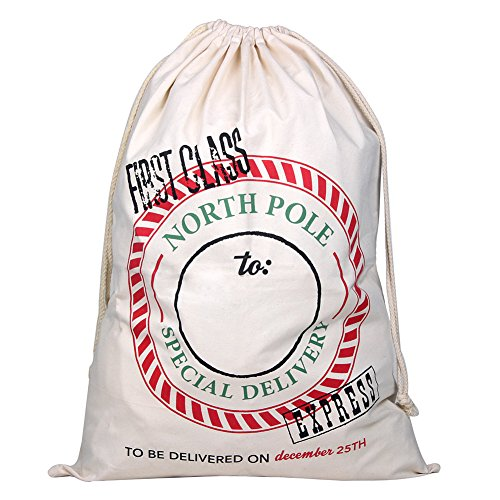 TGS Gems Extra Large Cotton Santa Bag with Drawstring Tie Closure 39 x 27 Santa Sack for Christmas Presents, Stocking Stuffers & Holiday Gifts (1 PC)