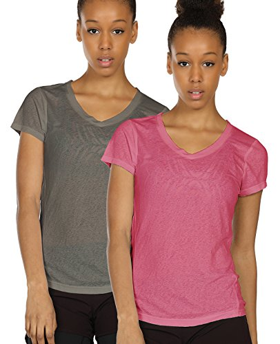 icyzone Activewear Fitness Yoga Tops Workout V Neck Open Back T-Shirts for Women(Pack of 2)(M,Grey/Sugar Coral)