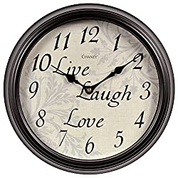 Chaney Instrument Co 46018 Live Laugh Love Sentiments Wall Clock, 12
