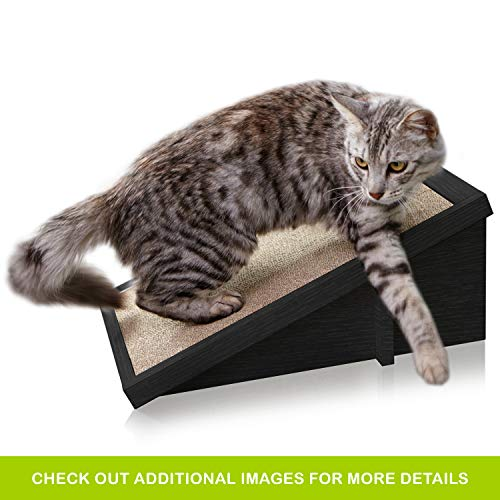 Way Basics Eco Friendly Cat Scratcher Incline, Cat Scratching Pad with Organic Catnip, Black (Tool-Free Assembly and Uniquely Crafted from Sustainable Non Toxic zBoard paperboard)