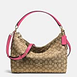 COACH EAST/WEST CELESTE CONVERTIBLE HOBO IN OUTLINE SIGNATURE (F58284) IMITATION GOLD/KHAKI STRAWBERRY