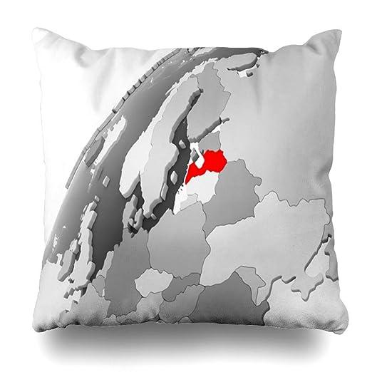 Cubrir la Funda de Almohada Cuadrado Mapa del país Letonia ...