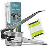Pro Potato Ricer With Peeler Shredder. Stainless Steel Mashed Potatoes Maker,Press and Mash Foods, Cauliflower Presser, Baby Food Strainer