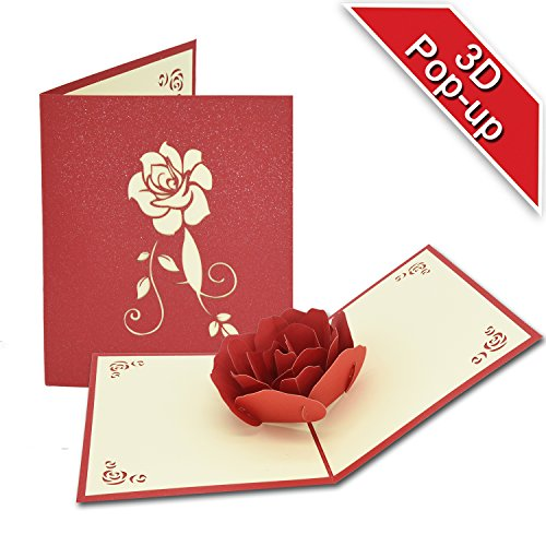 Greeting Cards, T-Antrix 3D Pop UP Rose Handmade Gift Card for Birthday Wedding Mother's Day Thank You Cards, 5x6.1 inches (1 piece)