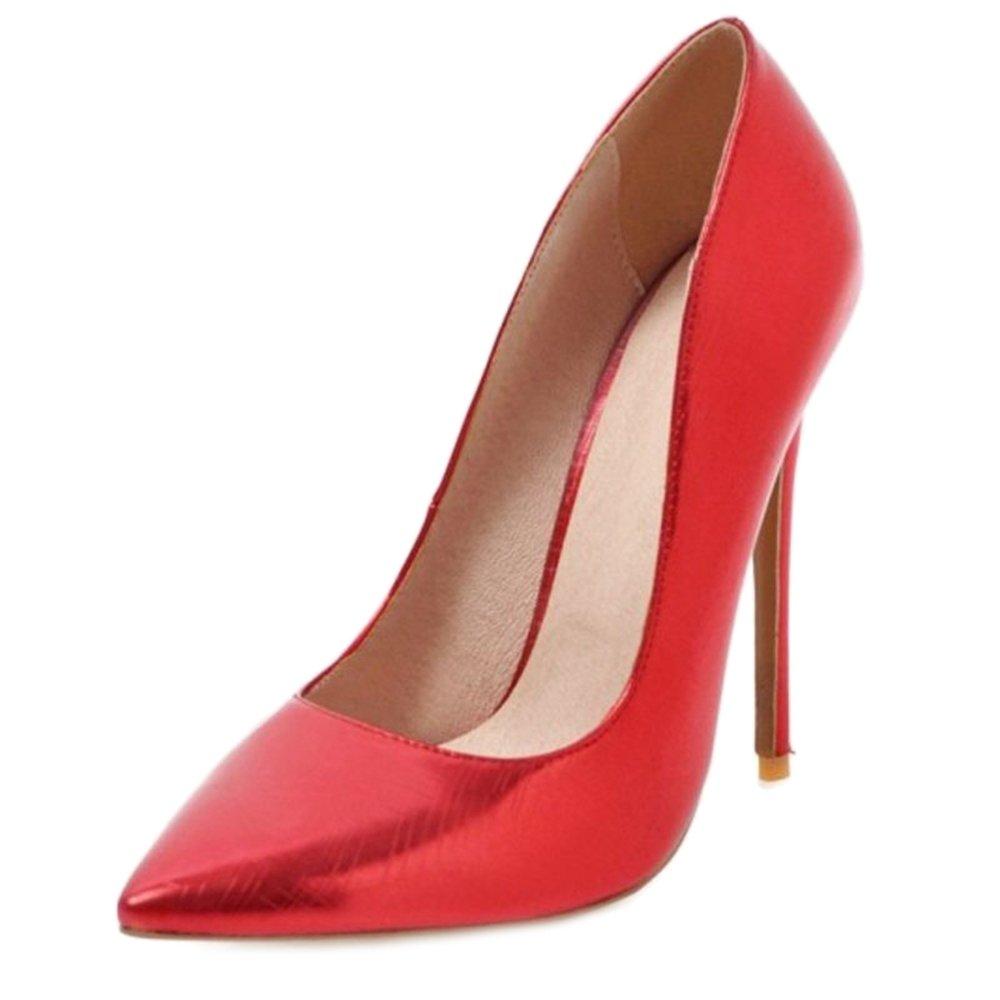 SJJH - Sandalias con Cuña de Sintético Mujer 34 EU|Rojo
