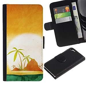 """Apple iPhone 5 / iPhone 5S , la tarjeta de Crédito Slots PU Funda de cuero Monedero caso cubierta de piel ("""" Palm Trees Lonely Island Ocean Sea Sun"""")"""