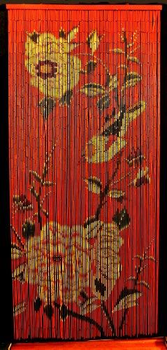 Bamboo Beaded Curtain Peony Flowers Decor Natural Door Way Doorway Room Divider 90 Strands NT/BB-08