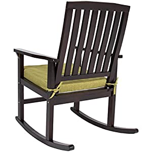 Best Choice Products Contemporary Patio Wood Rocking Chair W/ Seat Cushion