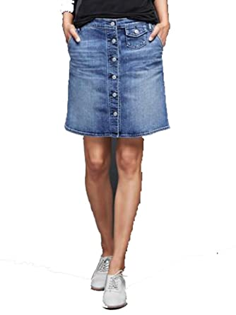Gap Womens Blue Denim Button Front Pocket 1969 Jean Skirt 6 / 28 ...