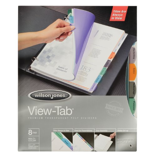 Wilson Jones View-Tab Premium Transparent Poly Dividers, 8 Tab Square, Letter Size, Multi-Color (W16304)