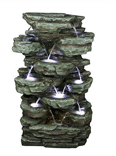 - Alpine Corporation Multi-Tier Rock Pond Water Fountain with LED Lights - Outdoor Water Fountain for Garden, Patio, Deck, Porch - Yard Art Decor