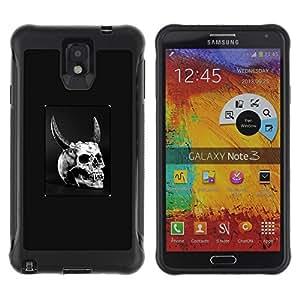 ZAKO CASES / Samsung Note 3 / Horned Devil Skull / Robusto Prueba de choques Caso Billetera cubierta Shell Armor Funda Case Cover Slim Armor