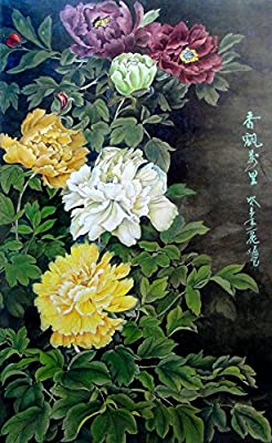 Peonies in Five Colors Oil Painting Reprodution. Based on Famous Traditional Chinese Realistic Painting. (Unframed and Unstretched).