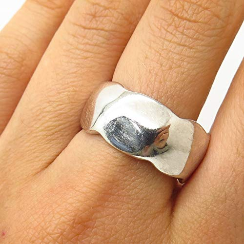 - 925 Sterling Silver Hammered Design Wide Band Ring Size 9 1/4 Jewelry by Wholesale Charms