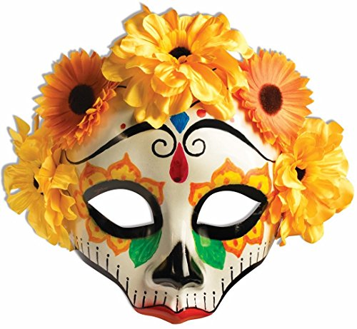 [Female Day of the Dead Mask with Flowers on Glasses (Yellow)] (Day Of The Dead Female Mask)