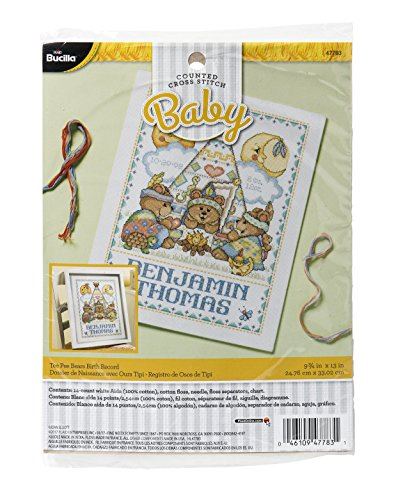 Bucilla 47783 Tee Pee Bears Counted Cross Stitch Kit, 9 3/4