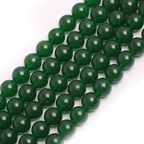 GEM-inside Green Jade Gemstone Loose Beads 10mm Round Crystal Energy Stone Healing Power for Jewelry Making (Green Jade Gems)