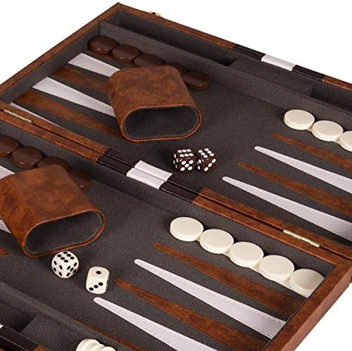 Crazy Games Backgammon Set - Classic 14.75 Inch Backgammon Sets for Adults Board Game with Premium Leather Case - Best Strategy & Tip Guide (Brown)