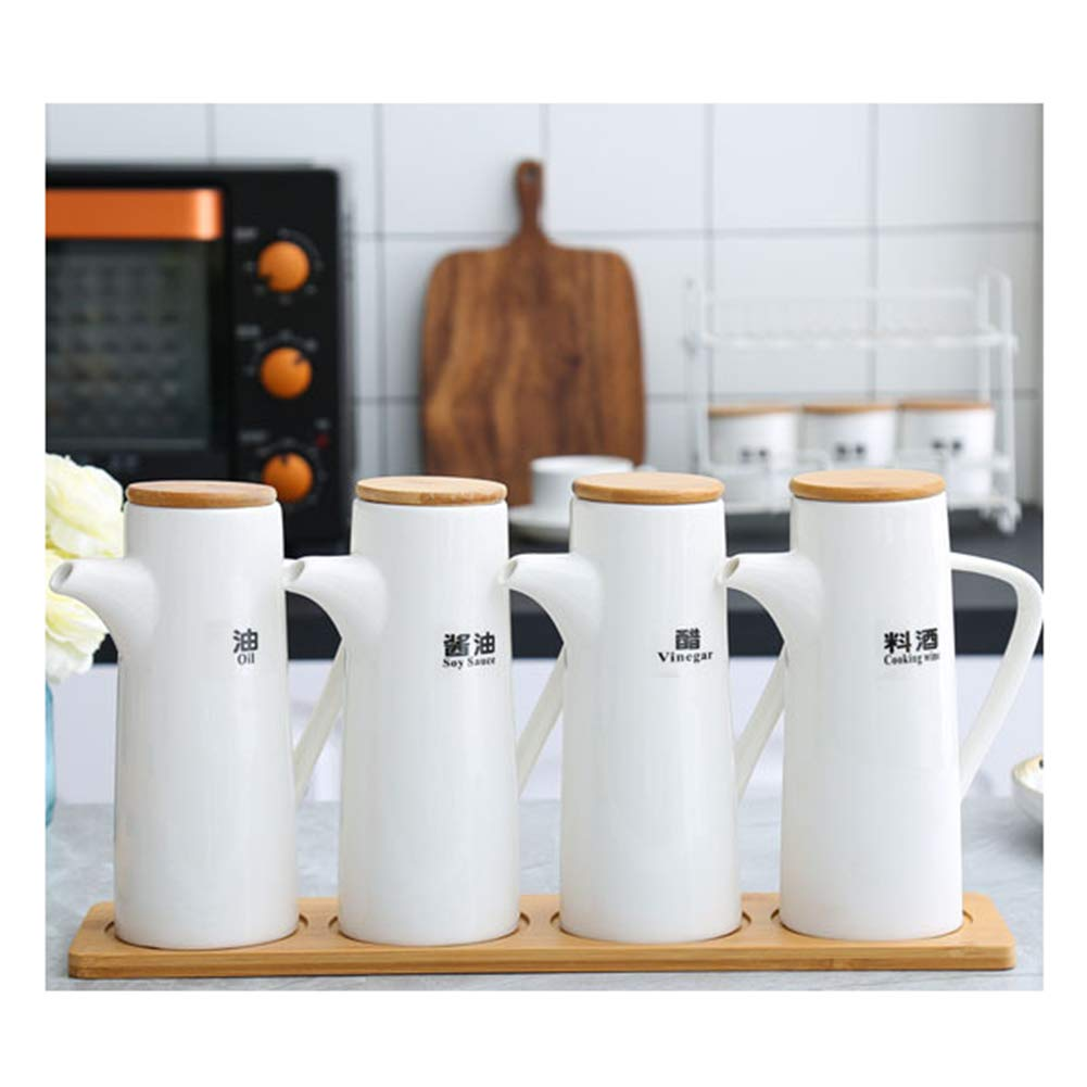 MAI&BAO Oil Vinegar Bottle Pot Dispenser Kitchen Ceramics Olive Sauce Dispenser Dust Proof and Leak-Proof with Pouring Spout Wooden Bottle Cap Prevents Oxidation 500ML White,4pieces