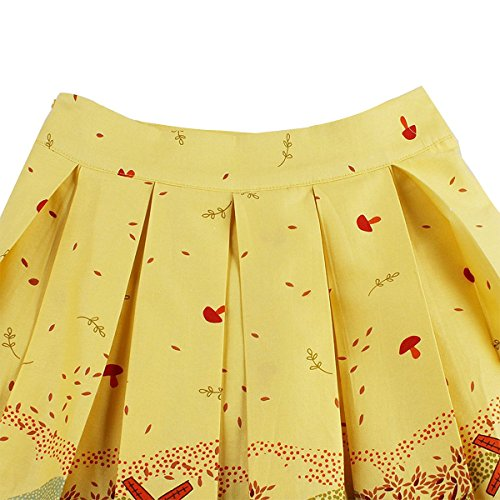 Girstunm Women's Pleated Vintage Skirt Floral Print A-Line Midi Skirts with Pockets Autumn-Melody S by Girstunm (Image #4)