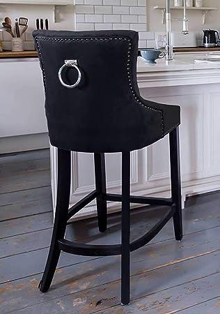 Miraculous Black Velvet Upholstered Buttoned Bar Stool With Silver Back Uwap Interior Chair Design Uwaporg