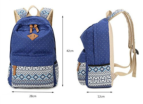 Bookbag Capacity Girls Beige Vintage Teen Backpack Canvas Bagpack School Lady Backpack Beige Large Backpacks School Dot Backpacks Print TwSwAx1q