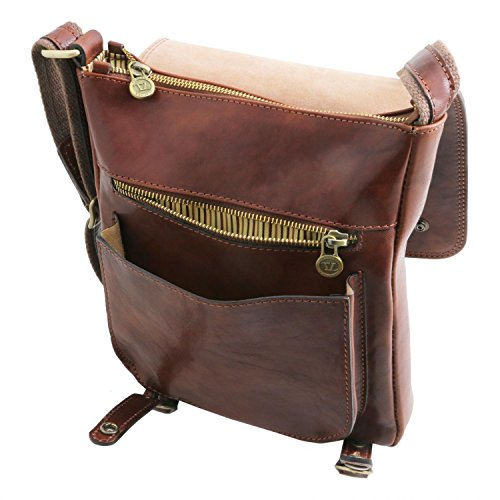 For Roby Honey Crossbody Front With Men Bag Leather Tuscany Brown Straps wqR1g1