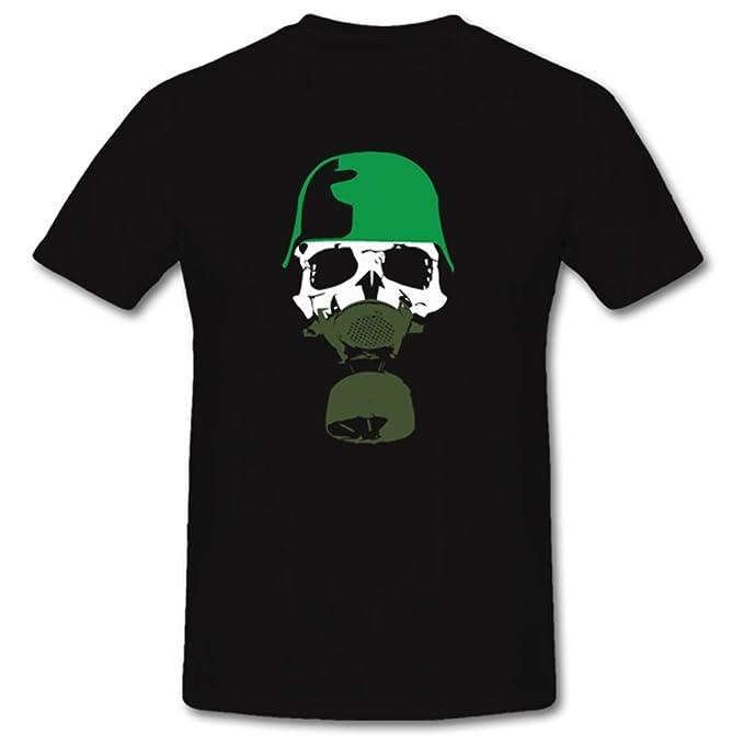 WH Acero Casco Calavera Cráneo Soldado Militar Calavera WK Gas Máscara – Camiseta # # 156