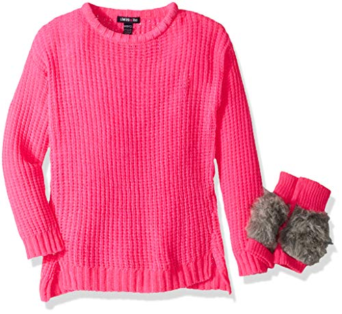 Limited Too Girls' Little Chenille Pullover Sweater with Mittens, neon hot Pink, 4
