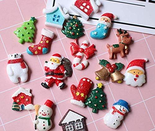 Christmas Tree Jinglebells and More! Snowman Adam Victor Merry Christmas Resin Accessories- 12 Mini DIY Xmas Decorations House Elk Santa Claus