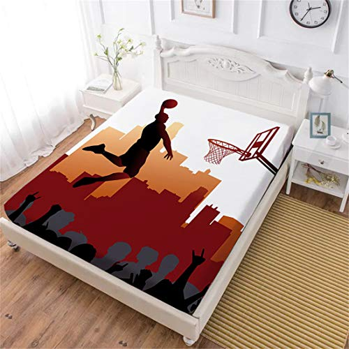 Oliven Fitted Sheet Full Size,3D Bedding Cool Basketball Bedding Set Only 1 Pc,NBA Basketball Bed Fitted Sheet