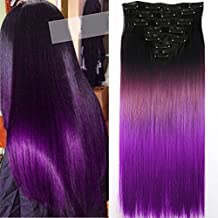 "Neverland Beauty 24""Synthetic Straight Two Tone Ombre Hairpiece Hair Extensions Full Head Clip Natural Black to Violet Purple"