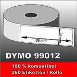 6 x Dymo Label 99012 89x36 mm 6 x 260 = 1560 Etiketten 100% kompatibel zu Dymo 99012