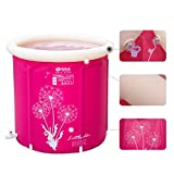 Folding Bathtub Padded Insulation Barrel Bath, Adult Folding Stand Bathtub, Plastic Household Adult Inflatable Bathtub Pink (Size : 6570cm)