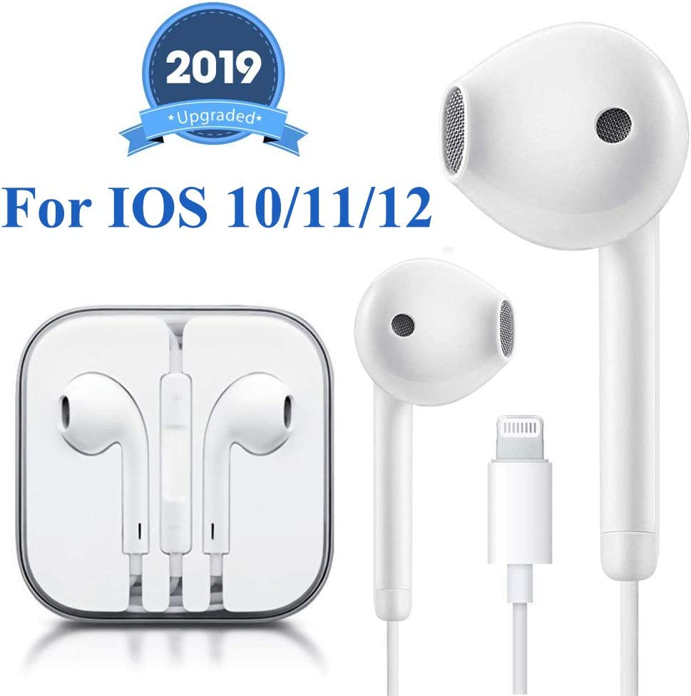 Lighting Earbuds Headphone Wired Earphones Headset with Microphone and Volume Control, Compatible with iPhone 11 Pro Max/Xs Max/XR/X/7/8 Plus Plug and Play Carrier Cell Phones (White)
