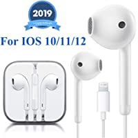 Lighting Connector Earbuds Earphone Wired Headphones Headset with Mic and Volume Control,Compatible with iPhone 11 Pro Max/Xs Max/XR/X/7/8 Plus Plug and Play  Microscope Adapters
