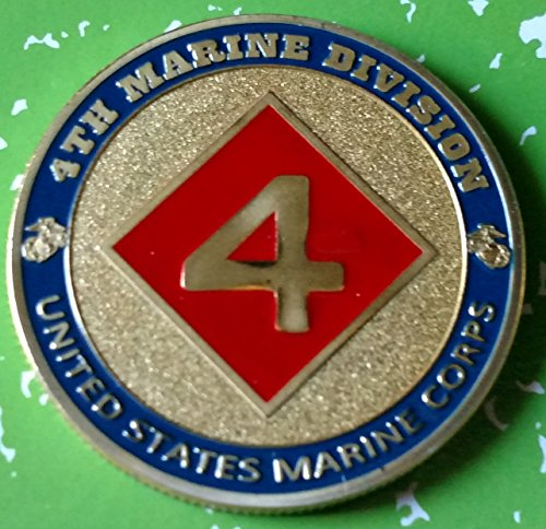 USMC Marine Corps 4th Marine Division Military Colorized Challenge Art Coin - Marine Division Challenge Coin