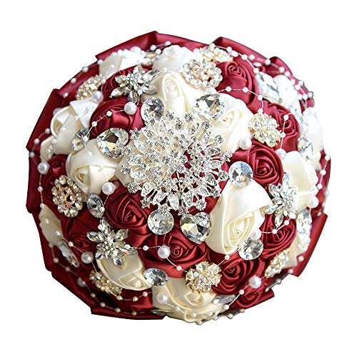 Luvier Romantic Silk Rose Crystal Wedding Bridal Bouquets White Artificial Rose Flower Bridesmaid Bouquet (Burgundy)
