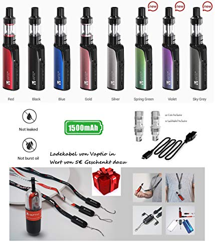 Incon 24 Vaptio Cosmo Starter set e shisha Kit 1500mAh output of 30W e zigarette MTL und DL Verdampfer Gold Rosa ohne…
