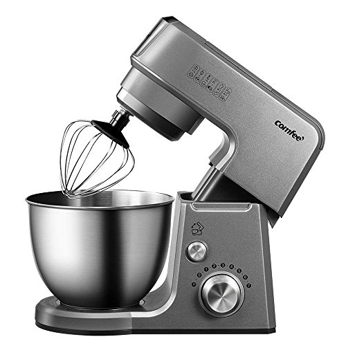 Comfee 2.6Qt Die Cast 7-in-1 Multi Function Tilt-Head Stand Mixer with SUS Mixing Bowl, Whisk, Hook, Beater, Splash Guard.4 Outlets, 7 Speeds & Pulse, 15 Minutes Timer Planetary Mixer (Grey)