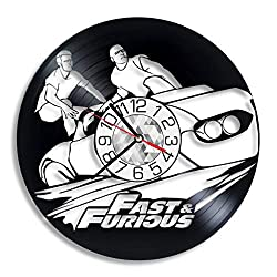 Fast and Furious Vinyl Clock - Vin Diesel Wall Art Room Decor Handmade Decoration Party Supplies Theme Stuff Birthday Gift Vintage Modern Style
