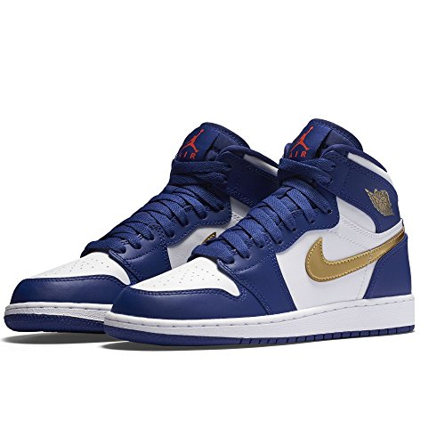 Nike Air Jordan 1 Retro High Bg, Zapatillas de Baloncesto para Niños Azul (Azul (deep royal blue/mtlc gold coin-white))