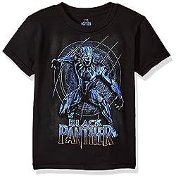 Marvel Big Boys' Panther Movie Logo Short Sleeve T-Shirt, Black, M