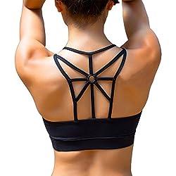 YIANNA Women's Padded Sports Bra Cross Back High Impact Wirefree Strappy Workout Activewear Running Yoga Bra,YA-BRA139-Black-XL